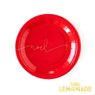 【my mind's eye】 Noel ペーパープレート 12枚 レッド ゴールドプリント ケーキプレート 紙皿 クリスマス (PGB745)