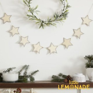 【Ginger Ray】 木製スターガーランド Wooden Rustic Star Bunting  With White Glitter クリスマス 飾り    (LS-511)