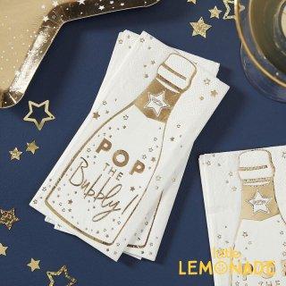 【Ginger Ray】シャンパンボトル柄 ペーパーナプキン ゴールド  16枚入り 紙ナプキン クリスマス 新年会 (POP-421)