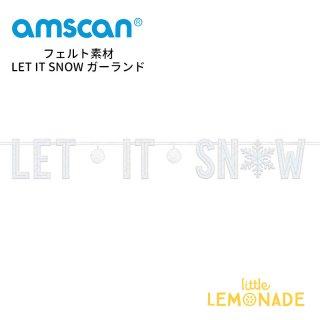 【amscan】クリスマス バナー フェルト素材 LET IT SNOW ガーランド 毛糸のポンポンつき (120406)