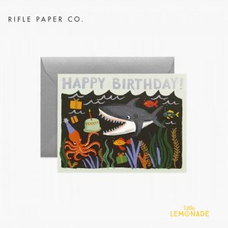 【RIFLE PAPER ライフルペーパー】 バースデーカード / Shark Birthday (シャークバースデー) (GCB070)