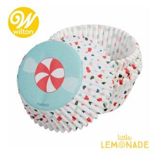 【Wilton】キャンディスワール べーキングカップ ケース 75枚入り クリスマス Candy Swirl Cups(415-0-0377)