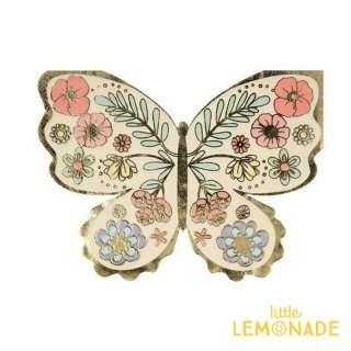 【MeriMeri】フローラルバタフライナプキン 16枚入り Floral Butterfly Napkins 紙ナプキンホームパーティー 誕生日(206038)