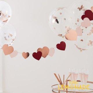 【Ginger Ray】 ハートのガーランド 2メートル バレンタイン バナー ピンク レッド デコレーション (HG-306)