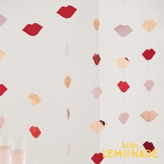 【Ginger Ray】 リップガーランド 1.5メートルx6本入り  バレンタイン バックドロップ バナー キスマーク ピンク レッド デコレーション (HG-310)