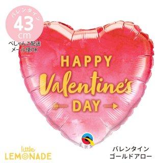 バレンタイン 飾り【ぺしゃんこでお届け】Happy Valentine's Day ゴールドアロー レッド 赤 ガスなし 風船 (78538)