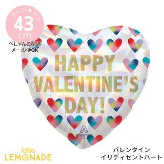 バレンタイン 飾り【ぺしゃんこでお届け】Happy Valentine's Day イリディセントハート ガスなし 風船 (42265)