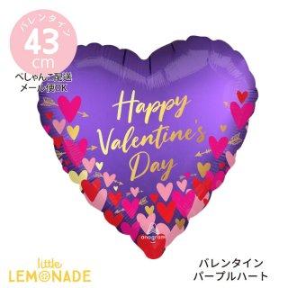 バレンタイン 飾り【ぺしゃんこでお届け】Happy Valentine's Day 大人っぽい パープル ハート ガスなし 風船 (42266)