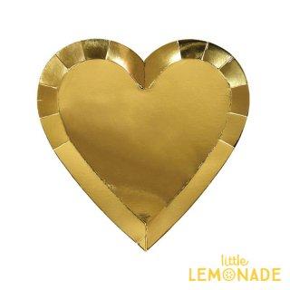 【Meri Meri メリメリ】ゴールドハートラージプレート 8枚入り ゴールド (45-3140)