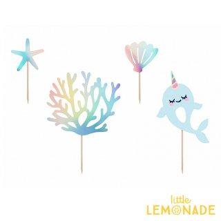 【Party Deco】イッカクのイリディセントケーキトッパーセット 海 マーメイド バースデー 誕生日(KPT48)