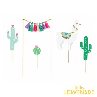 【Party Deco】ラマの南国風ケーキトッパーセット 誕生日 ケーキトッパー ラマ アニマル サボテン 南国 メキシカン(KPT49)