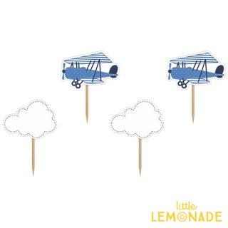 【Party Deco】リトルプレインカップケーキトッパーセット  飛行機 クラウド 男の子 乗り物 誕生日(KPM6)