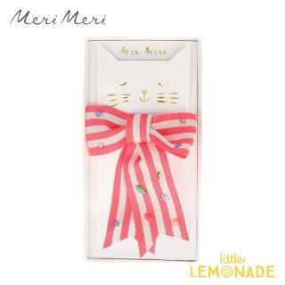 ピンクストライプのリボン型ヘアピン Pink Stripe Bow Hair Clip 【Meri Meri】アクセサリー ヘアクリップ 女の子 おめかし  (203519)