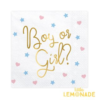 【Party Deco】ペーパーナプキン ジェンダーリビール boy or girl 20枚入り 性別発表 ベビーシャワー(SP33-78)