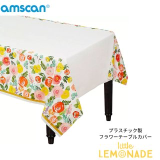 【amscan】使い捨てテーブルクロス/フラワー 花柄 プラスチック製 テーブルカバー(13442)