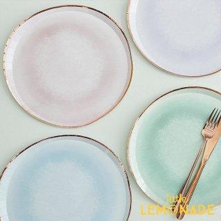【Ginger Ray】 パステル水彩 ペーパープレート 8枚入り 紙皿 パーティー皿  (MIX-426)