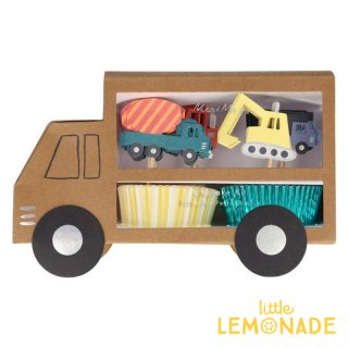 【Meri Meri】 働く車 カップケーキキット【車のピックとベーキングカップのセット】 Construction Cupcake Kit  (215056)