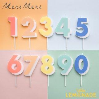 【Meri Meri】ナンバー キャンドル 数字 ろうそく 【1から0まで】 2021年NEW デザイン カラフル  (216685 )