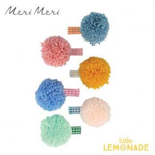 【Meri Meri メリメリ】 ギンガム ビッグポンポンヘアクリップ 6個セット ヘアアクセサリー キッズ 女の子 プレゼント(215785)