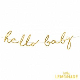 【Party Deco】 hello baby スクリプト体ガーランド ベビーシャワー パーティーデコレーション babyshower(GRL83-019M)