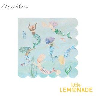 【Meri Meri】マーメイド ペーパーナプキン Mermaids Swimming Napkins  紙ナプキン 16枚入り 人魚  (210709)