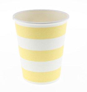 【SAMBELLINA サンベリーナ】 ペーパーカップ 12個入り イエロー ストライプ柄 (SMC016)