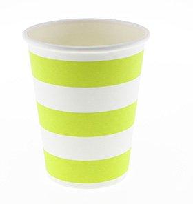 【SAMBELLINA サンベリーナ】 ペーパーカップ 12個入り ライトグリーン ストライプ柄 (SMC013)