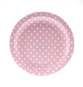 【SAMBELLINA サンベリーナ】 ドットペーパープレート ラウンド型ラージ 12枚入り ピンク