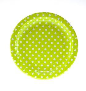 【SAMBELLINA サンベリーナ】 ドットペーパープレート ラウンド型ラージ 12枚入り ライトグリーン