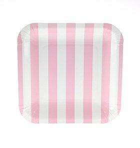 【SAMBELLINA サンベリーナ】 ペーパープレート スクエア型 12枚入 ピンク ストライプ