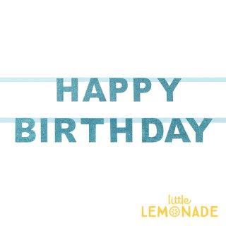 【my little day マイリトルデイ】 HAPPY BIRTHDAY バナー グリッター ブルー フランス製 誕生日バナー