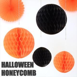ハロウィン ハニカムボール 4個セット オレンジ&ブラック 20cm & 30cm 【メール便発送可】