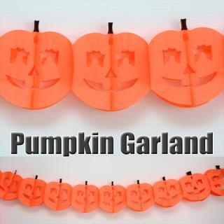 【ハロウィン バナー】オレンジパンプキン パーティーガーランド 2〜3.7M 【メール便配送可】