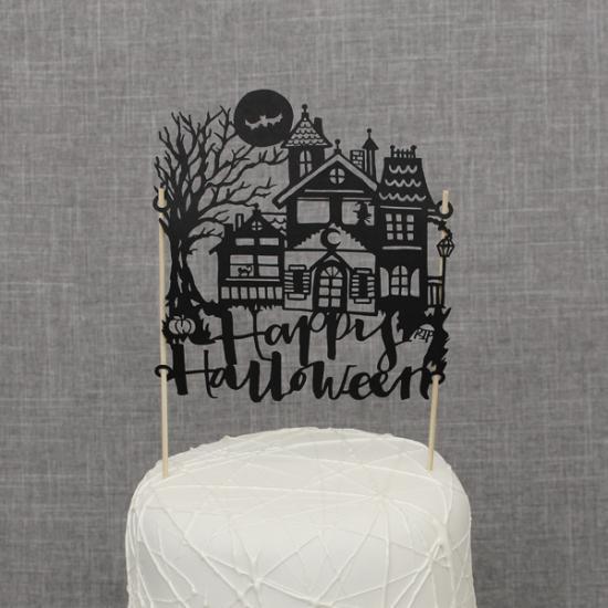 【ハロウィン】 ケーキトッパー 紙製 ホーンテッドハウス 【ケーキ用飾り】cake topper