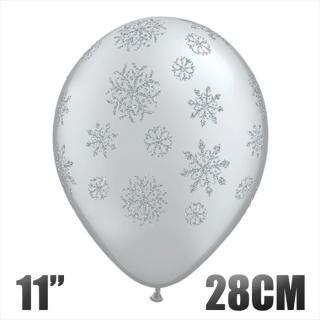 【風船】グリッタースノーフレーク  バルーン 雪の結晶 シルバー