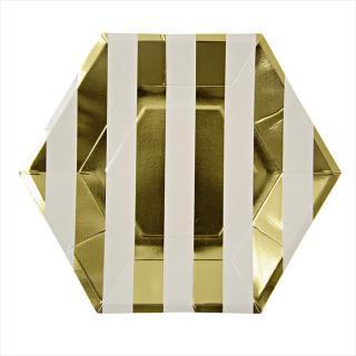 【Meri Meri メリメリ】ゴールドストライプ 六角形ペーパープレート 8枚入り パーティー用紙皿 (45-1235 / 124309)