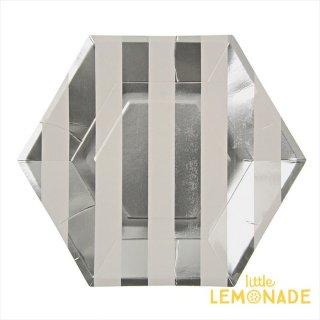 【Meri Meri メリメリ】シルバーストライプ 六角形ペーパープレート 8枚入りパーティー用紙皿 (45-1231)