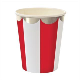 【Meri Meri】【クリスマス】赤 ストライプ ペーパーカップ 8個入り (128692)