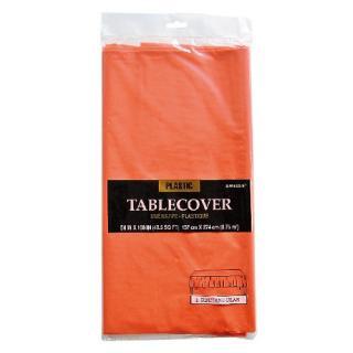 【amscan】【テーブルクロス】使い捨てテーブルクロス オレンジ プラスチック製 テーブルカバー