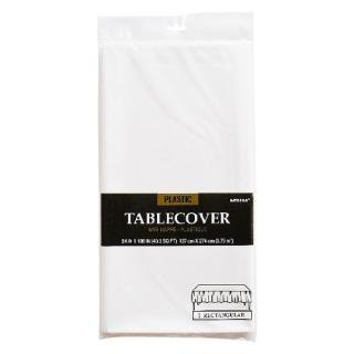 【amscan】【テーブルクロス】使い捨てテーブルクロス ホワイト プラスチック製 テーブルカバー