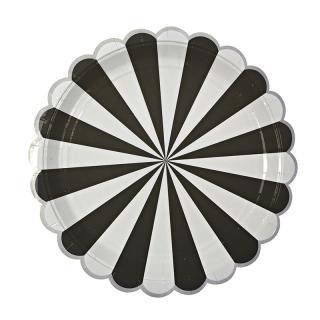 【Meri Meri メリメリ】ペーパープレート Toot Sweet Scallop Black ストライプ ブラックラージ 8枚入り (45-1253)