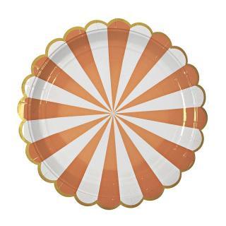 【Meri Meri メリメリ】ペーパープレート Toot Sweet Scallop Orange ストライプ オレンジ ラージ 8枚入り (45-1225)
