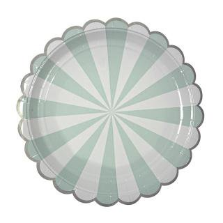 【Meri Meri メリメリ】ペーパープレート Toot Sweet Scallop Aqua ストライプ アクア ラージ 8枚入り (45-1227)