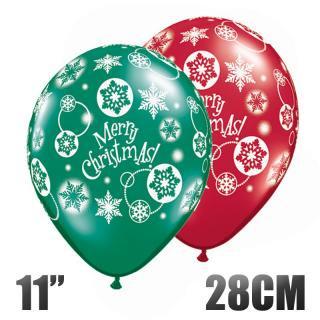 【風船】 雪の結晶柄 メリークリスマス MERRY CHRISTMAS レッド&グリーン 5枚パック パーティーバルーン