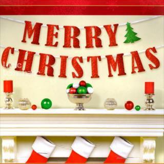 【クリスマス バナー】MERRY CHRISTMAS グリッターレターバナー 【メール便可】【amscan】
