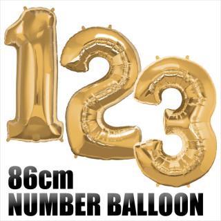 【数字バルーン】【ゴールド】約90CMのビッグナンバーバルーン ※ガス無し フィルム風船