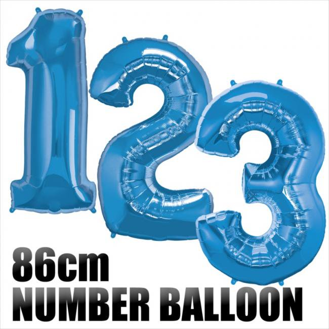 【数字バルーン】【ブルー】約90CMのビッグナンバーバルーン ※ガス無し フィルム風船