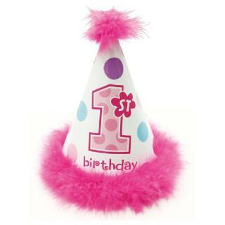 【amscan】ファーストバースデイ用コーンハット 三角帽子 ピンク マラボウ付 【女の子のバースデイ・パーティー・1歳誕生日のお祝いに】