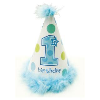 【amscan】ファーストバースデイ用コーンハット 三角帽子 ブルー  マラボウ付 【男の子のバースデイ・パーティー・1歳誕生日のお祝いに】