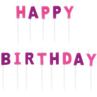 【WILTON】ケーキ用キャンドル ピンク HAPPY BIRTHDAY お誕生日会のパーティーグッズ